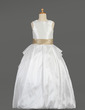 Ball Gown Floor-length Flower Girl Dress - Taffeta/Lace Sleeveless Scoop Neck With Sash/Beading/Bow(s) (010014634)