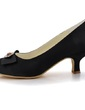 Women's Satin Cone Heel Closed Toe Pumps With Bowknot Rhinestone (047039623)