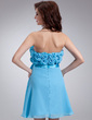 Empire Strapless Short/Mini Chiffon Homecoming Dress With Ruffle Flower(s) Bow(s) (022008131)