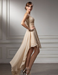 A-Line/Princess V-neck Asymmetrical Chiffon Homecoming Dress With Beading Cascading Ruffles (022009956)