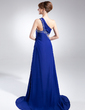 A-Line/Princess One-Shoulder Sweep Train Chiffon Mother of the Bride Dress With Beading (008015817)