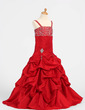 A-Line/Princess Floor-length Flower Girl Dress - Taffeta Sleeveless Straps With Ruffles/Beading/Pick Up Skirt (010005876)