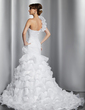 Trumpet/Mermaid One-Shoulder Chapel Train Organza Wedding Dress With Flower(s) Cascading Ruffles (002014797)