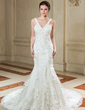 Trumpet/Mermaid V-neck Court Train Organza Wedding Dress With Ruffle Beading Appliques Lace Sequins (002000582)