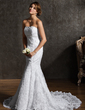 Trumpet/Mermaid Sweetheart Chapel Train Wedding Dress With Beading (002001336)