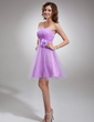 A-Line/Princess Strapless Knee-Length Tulle Homecoming Dress With Flower(s) (022016769)