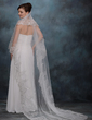 One-tier Cathedral Bridal Veils With Lace Applique Edge (006005418)