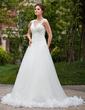 A-Line/Princess V-neck Chapel Train Tulle Wedding Dress With Ruffle Feather (002000578)