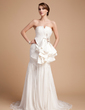 Trumpet/Mermaid V-neck Court Train Chiffon Satin Wedding Dress With Beading Cascading Ruffles (002014497)