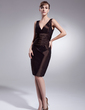 Sheath/Column V-neck Knee-Length Taffeta Bridesmaid Dress With Ruffle (007004218)