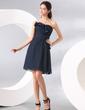 A-Line/Princess Sweetheart Knee-Length Chiffon Cocktail Dress With Ruffle Beading Flower(s) (016014084)