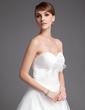 Balo Elbisesi Kalp Kesimli Şapel Kuyruk Satin Tulle Gelinlik Ile Büzgü Çiçek(ler) (002001176)