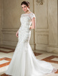 Trumpet/Mermaid Scoop Neck Court Train Tulle Wedding Dress With Lace Sequins (002040677)