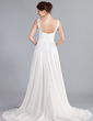 A-Line/Princess V-neck Court Train Chiffon Wedding Dress With Ruffle Beading Appliques Lace (002011603)