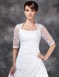 A-Line/Princess Scoop Neck Court Train Taffeta Tulle Wedding Dress With Ruffle Lace (002017121)
