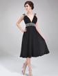 Çan/Prenses V Yaka Diz Hizası Chiffon Mezunlar Gecesi Elbisesi Ile Büzgü Boncuklama (022011115)