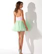 Empire Sweetheart Short/Mini Tulle Homecoming Dress With Ruffle Sash Beading (022020936)