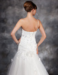 A-Line/Princess One-Shoulder Court Train Charmeuse Tulle Wedding Dress With Ruffle Beading Appliques Lace Flower(s) (002016946)