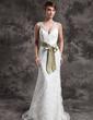 Syrena Dekolt w Serek Tren Dotykający ziemi Satin Lace Suknia Ślubna Z Szarfy Perełki (002015007)