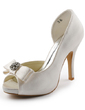 Women's Satin Cone Heel Peep Toe Platform Sandals With Bowknot Rhinestone (047005327)