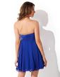 Yüksek Bel Kalp Kesimli Kısa/Mini Chiffon Mezunlar Gecesi Elbisesi Ile Büzgü Boncuklama (022010906)