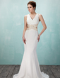 Trumpet/Mermaid V-neck Sweep Train Chiffon Prom Dress With Beading (018021086)
