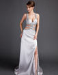 Sheath/Column Watteau Train Charmeuse Prom Dress With Beading Split Front (018015889)
