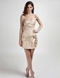 Sheath/Column Sweetheart Short/Mini Taffeta Homecoming Dress With Ruffle Beading Flower(s) (022015865)