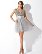 A-Line/Princess Scoop Neck Short/Mini Tulle Cocktail Dress With Ruffle Beading Sequins (016005838)