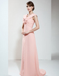 Empire V-neck Sweep Train Chiffon Mother of the Bride Dress With Ruffle Flower(s) (008006454)