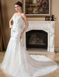 Trumpet/Mermaid Sweetheart Chapel Train Satin Organza Wedding Dress With Embroidered Beading Sequins (002011528)
