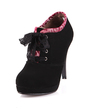 Suede Spool Heel Ankle Boots With Stitching Lace shoes (088033095)