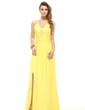 A-Line/Princess Halter Floor-Length Chiffon Holiday Dress With Ruffle Beading Split Front (020025982)