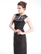 Sheath/Column Scoop Neck Knee-Length Charmeuse Cocktail Dress With Beading (016008472)