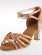 Women's Satin Heels Latin With Rhinestone Ankle Strap Dance Shoes (053018634)