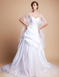 A-Line/Princess Sweetheart Chapel Train Taffeta Tulle Wedding Dress With Ruffle Beading Appliques Lace (002011710)