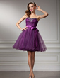 A-Line/Princess Sweetheart Short/Mini Tulle Homecoming Dress With Ruffle Beading Bow(s) (022010242)