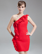 Sheath/Column One-Shoulder Short/Mini Chiffon Cocktail Dress With Cascading Ruffles (016016260)