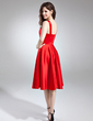 A-Line/Princess Sweetheart Knee-Length Satin Bridesmaid Dress With Ruffle (020037402)