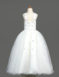 A-Line/Princess Floor-length Flower Girl Dress - Organza Sleeveless Scoop Neck With Beading (010005894)