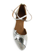 Women's Leatherette Sparkling Glitter Heels Pumps Modern With Bowknot Ankle Strap Dance Shoes (053013370)