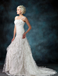 A-Line/Princess Sweetheart Chapel Train Lace Wedding Dress With Ruffle Beading (002022596)