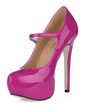 Patent Leather Stiletto Heel Pumps Platform Closed Toe With Buckle shoes (085017463)
