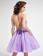 A-Line/Princess Halter Knee-Length Organza Homecoming Dress With Ruffle Beading Sequins (022010985)