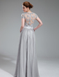 A-Line/Princess V-neck Floor-Length Chiffon Evening Dress With Ruffle Beading (017019722)