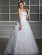 Ball-Gown Sweetheart Floor-Length Satin Organza Wedding Dress With Lace Beading Flower(s) Pleated (002006700)