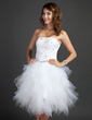 A-Line/Princess Sweetheart Knee-Length Tulle Homecoming Dress With Beading Appliques Lace Sequins Cascading Ruffles (022015335)
