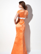 Sheath/Column V-neck Floor-Length Satin Bridesmaid Dress With Sash Bow(s) (007001493)