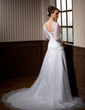 A-Line/Princess Scoop Neck Chapel Train Tulle Wedding Dress With Beading (002004776)
