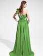 A-Line/Princess One-Shoulder Sweep Train Chiffon Prom Dress With Ruffle Beading (018025603)